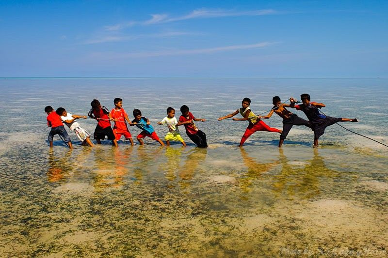 Semporna, Malaysia, blue, sky, sea, boat, children