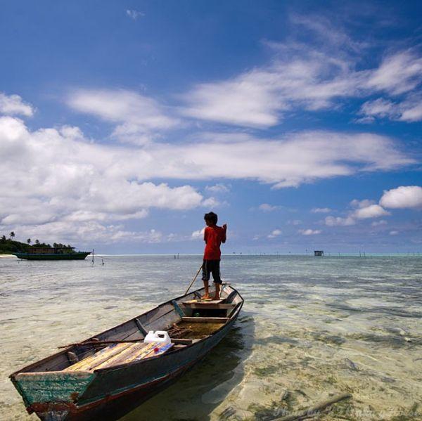 Semporna, Malaysia, child, sea, boat, blue, sky, c