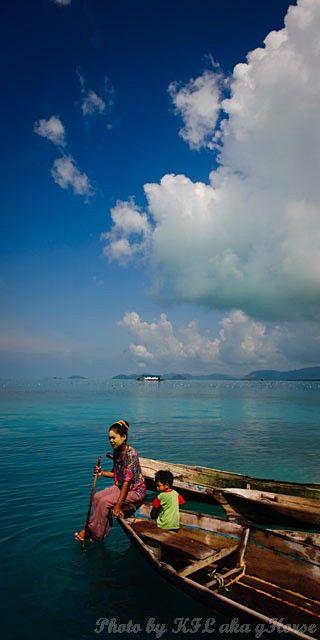 Semporna, Malaysia, sea, sky, blue, cloud, boat, c