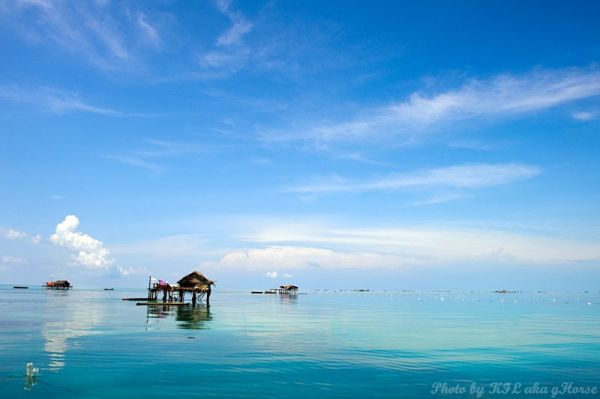 Semporna, Malaysia, sea, sky, blue, cloud, house