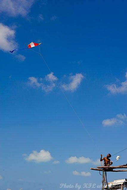Semporna, Malaysia, sky, blue, cloud, child, kite