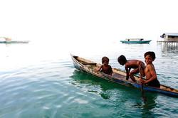 Semporna, Malaysia, sea, house, boat, children