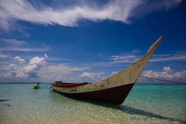Malaysia, Semporna, boat, sea, blue, sky, cloud