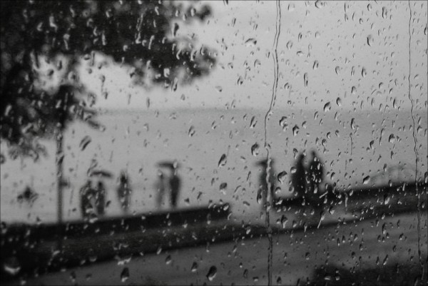 Rain on the lake, B&W