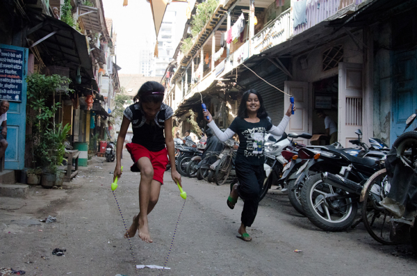 Girls cord-jumping
