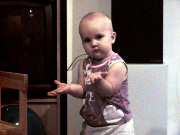 Shrugging baby