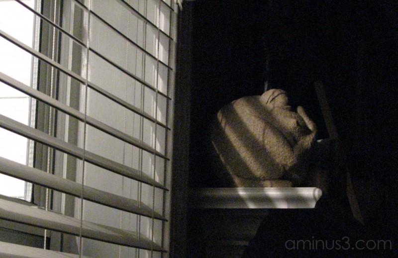 night light through the blinds