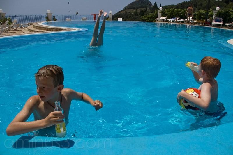pool, corfu