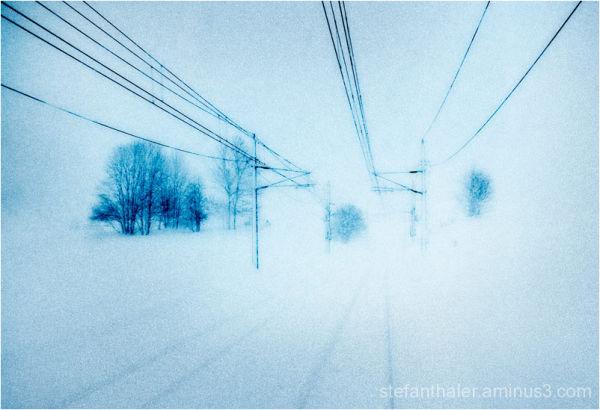 rail line, Eisenbahnlinie, Winterlandschaft