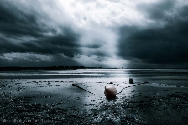 low tide, Ebbe in der Normandie