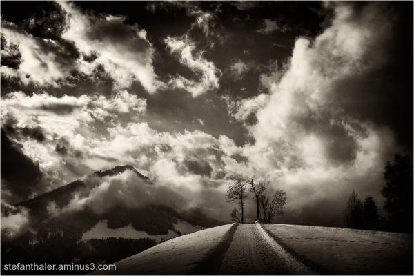 Winter, Wolken, Wolkenstimmung, Wanderweg