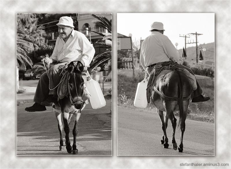 Eseltreiber, donkey driver, Korfu