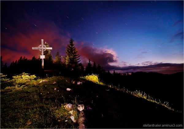 Heimkehrerkreuz, mountain cross, startrails,
