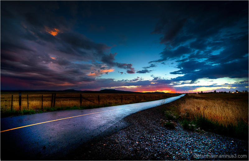 after the raining, road shot, american road