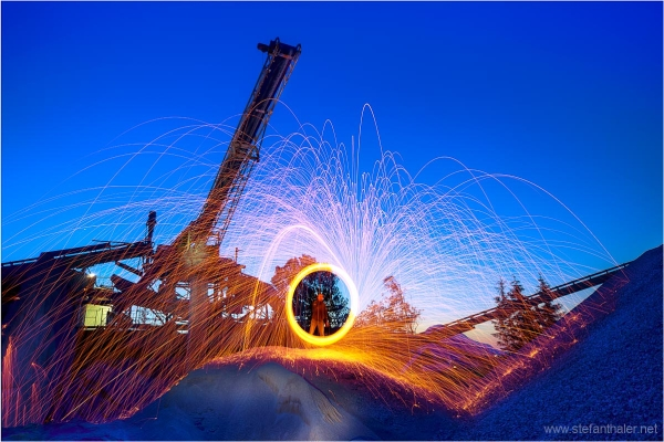 night fire, fire wheel, night shot