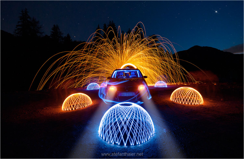 light painting, lapp, night, 777
