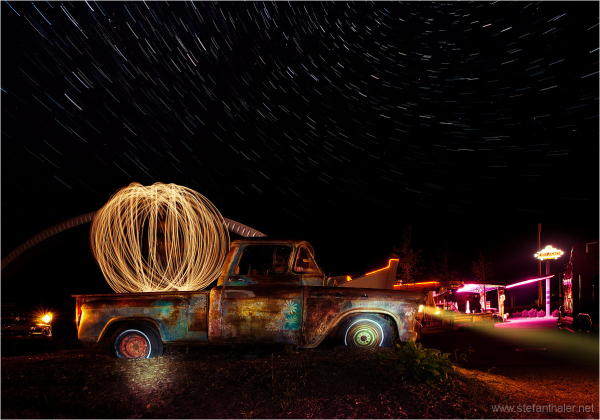 old american car, old-timer, lapp, light painting,