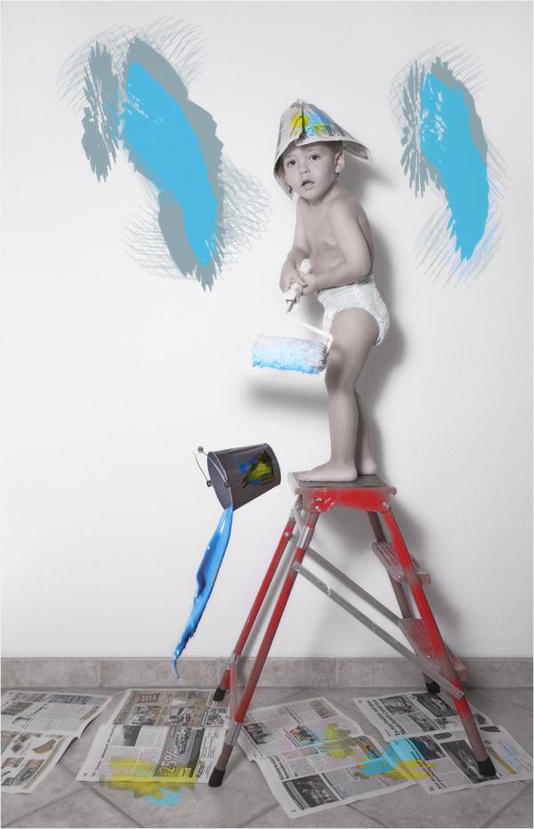 Kinder, malen, Anstreicher, Farbe