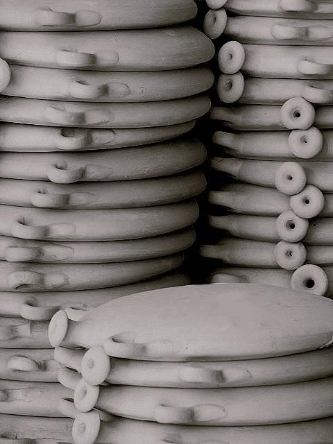 An abstract installation of pottery...