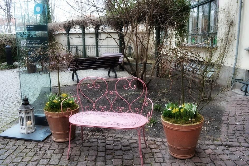 pink bench spot cozy