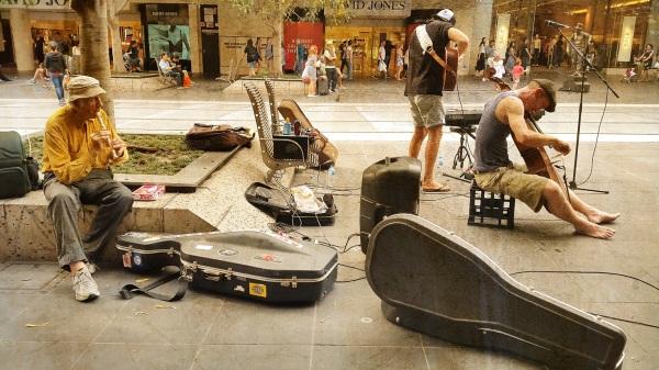 busker street musician melbourne old player flute