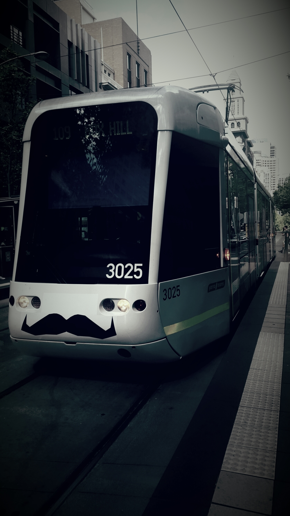 Tram moustache  melbourne  city urban