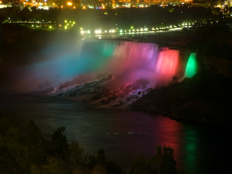 The American Falls at night from our hotel