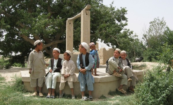 Afghanistan boys and well