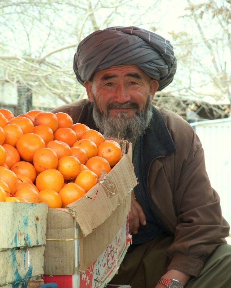 Uzbek fruit seller in Sheberghan