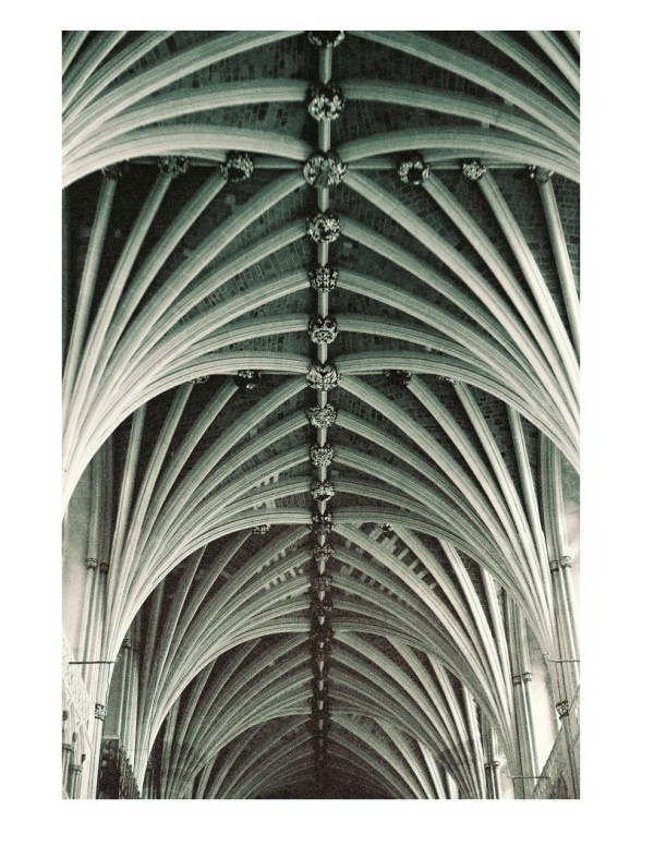 The vaulted ceiling of Exeter Cathedral