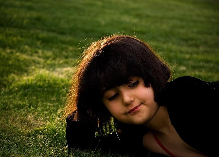 a girl on grass
