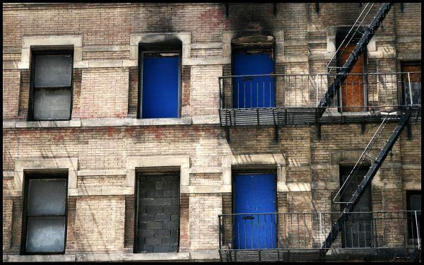 3 blue dooors