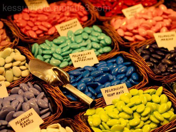 sweets, La Boqueria, market, colors