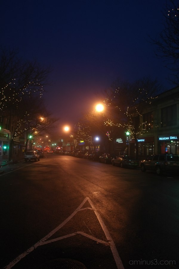 Davis Square fog Somerville Elm street lights