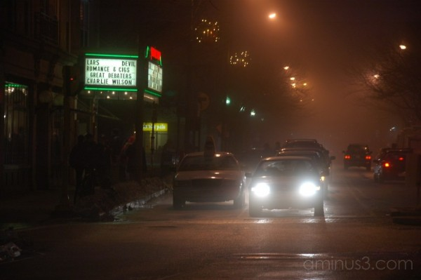 Somerville Theater foggy winter night