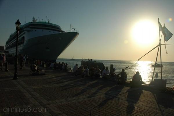 Cruise Ship at Sunset Key West Florida USA