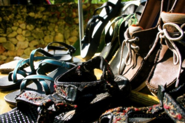 wet shoes drying