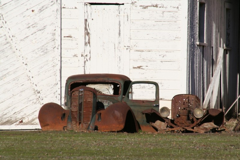 An ancient truck at Halter Ranch