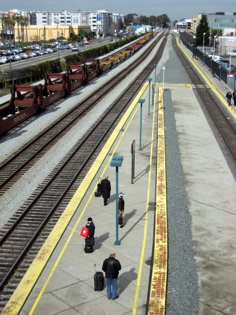 People waiting at Amtrak in Emeryville