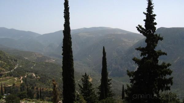 Delphi, mountains, tree framed
