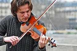 violoniste,pont,paris, saint louis
