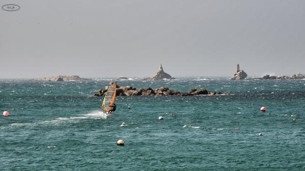 Planche à voile en mer d'Iroise