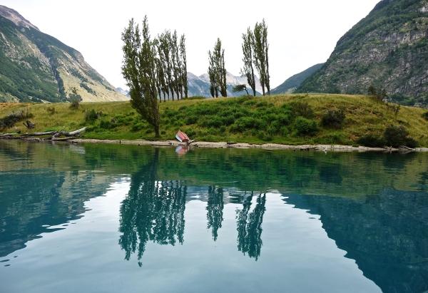Lago Azul Chilean Patagonia boat