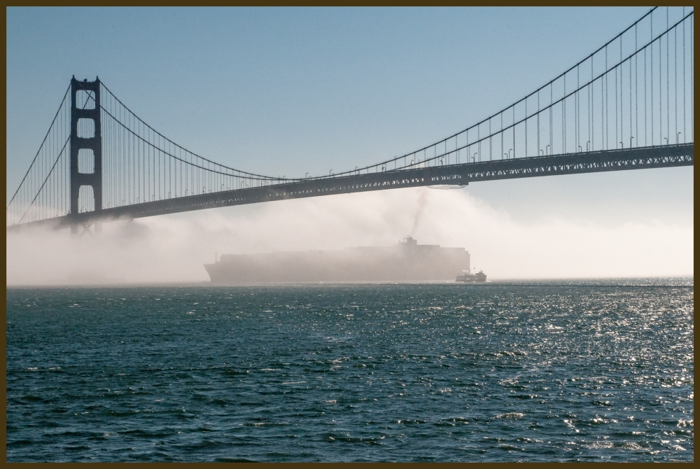 Foggy Golden Gate Cargo Ship