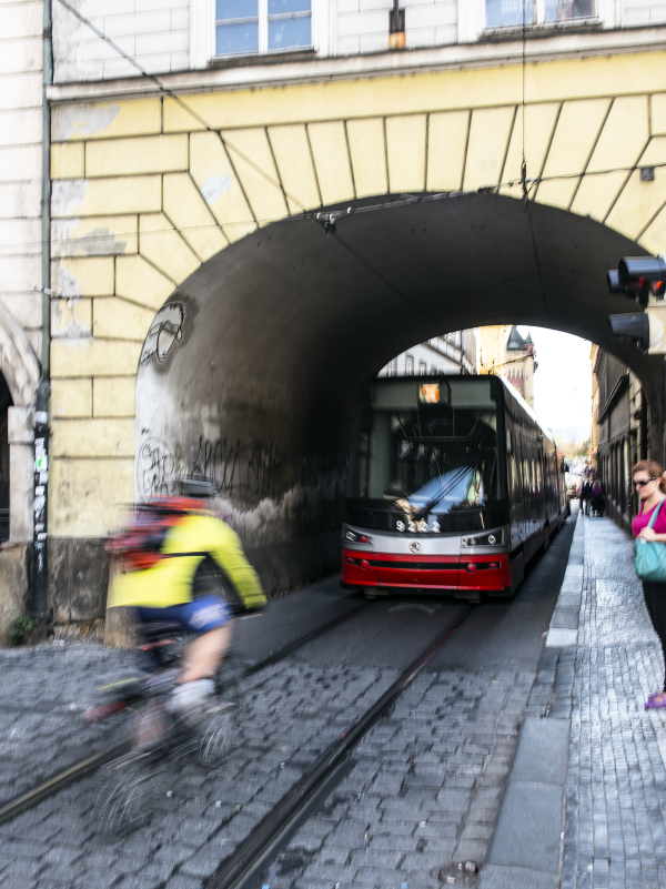 Cyclist and tram