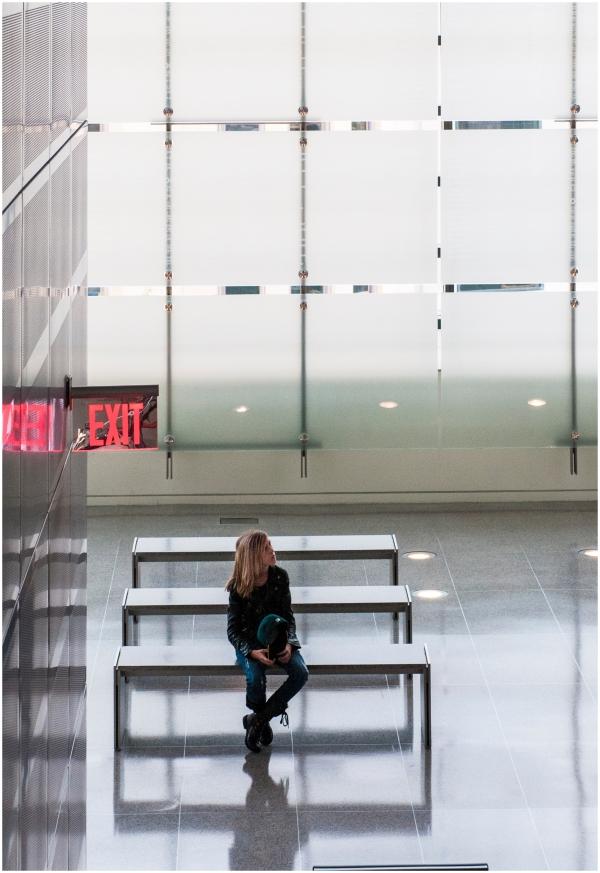 Woman alone at muserum