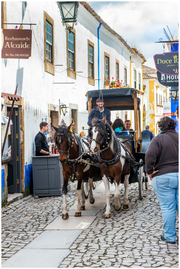 Horse-drawn carriage Obidos Portugal