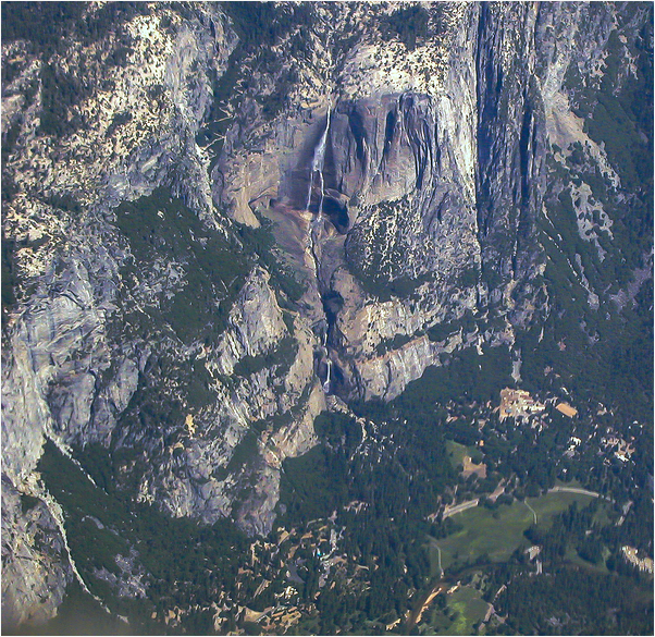 Air view Yosemite falls