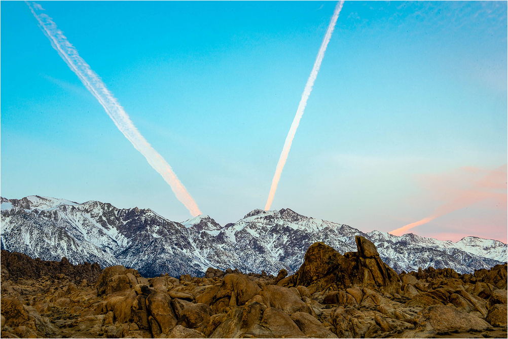 Contrails over the mountains