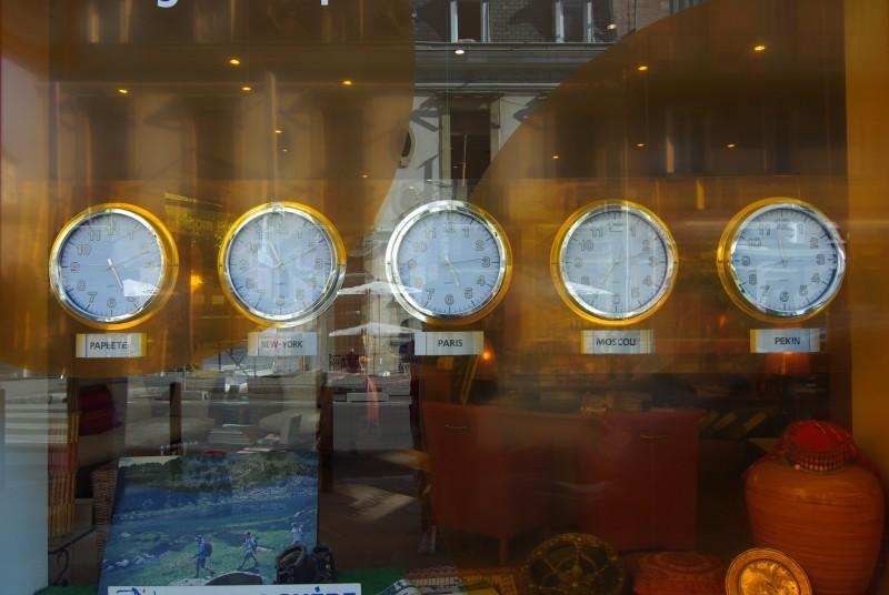 window with clocks